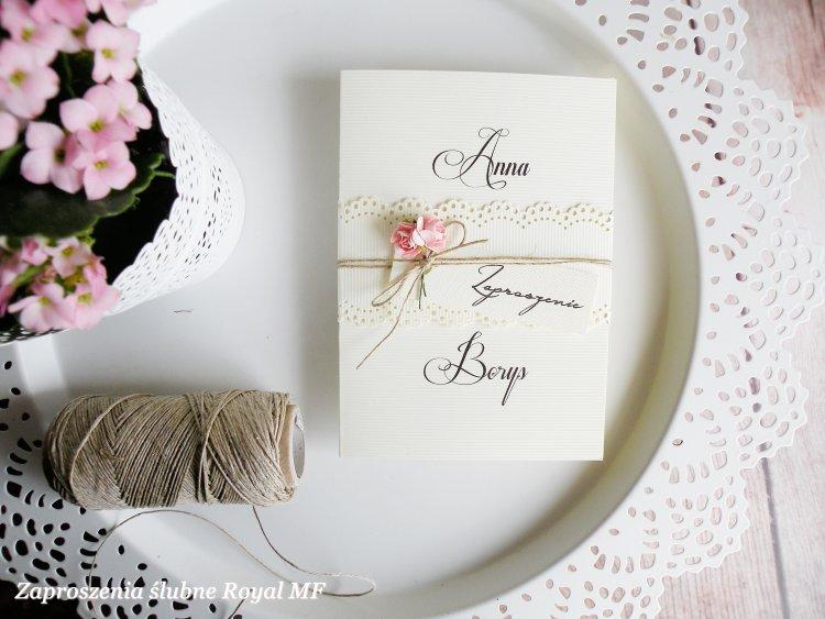 Zaproszenia ślubne Delikatna Koronka Zaproszenia 449zł