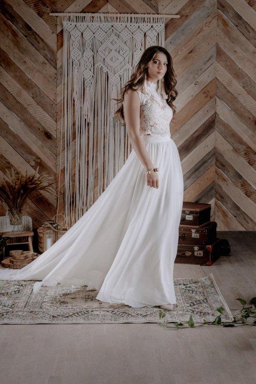 Spódnica ślubna z odczepianym trenem + koronkowa bluzeczka