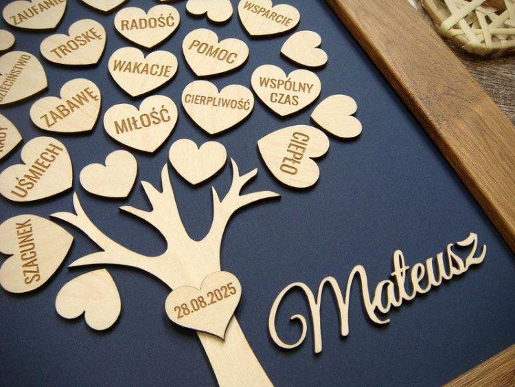 podziękowanie dla rodziców - drzewko z serduszkami