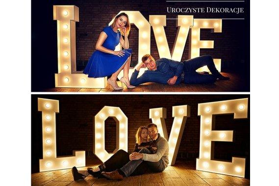 Świecący napis LOVE Dekoracja światłem Uroczyste Dekoracje