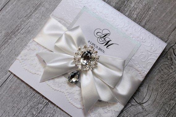 Zaproszenie z koronką Glamour Zaproszenia Studio Artystyczne PERFECTLY Anna Nosidlak