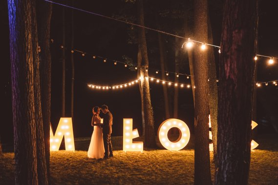 MIŁOŚĆ - napis wesele, świecący, duży, wynajem, love Dekoracja światłem MILOSC