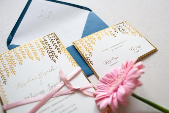 Zaproszenie ślubne Gold Leaves Zaproszenia KartkiPapieru