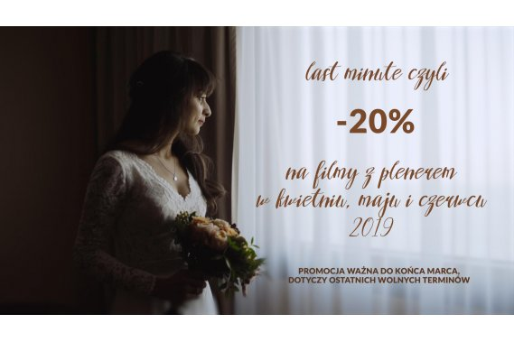 LAST MINUTE w Studio Pstro to -20% na filmy z plenerami Filmowanie ślubów Love Stories by Studio Pstro