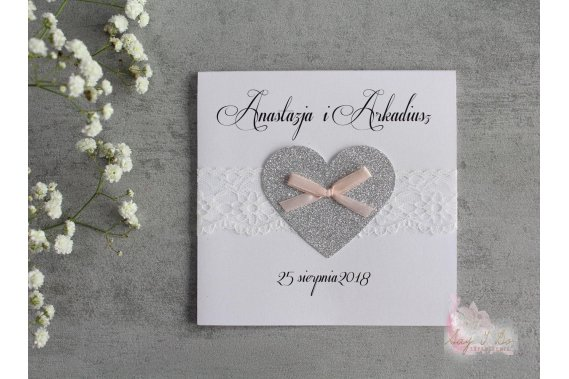 Zaproszenie na ślub - Brocade Heart Zaproszenia Say I Do Zaproszenia