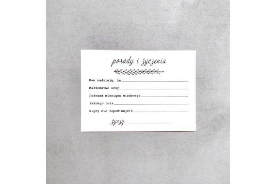Ślubne karty porad - Proste Pozostałe Weselne pomysły - Ślubne Karty Porad