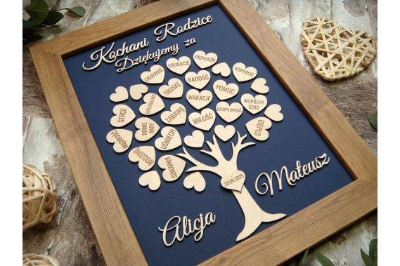 podziękowanie dla rodziców - drzewko z serduszkami Pozostała papetria Jot Studio zaproszenia ślubne i drewniane dekoracje