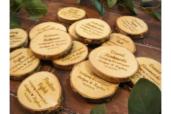winietka + podziękowanie dla gości + magnes na lodówkę - 3w1 Dekoracje weselne Jot Studio zaproszenia ślubne i drewniane dekoracje