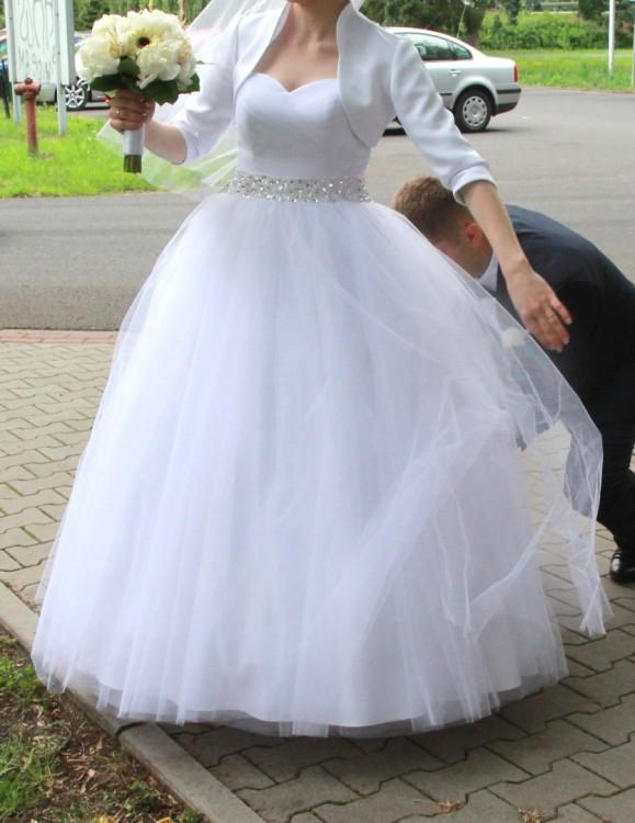 Suknie Suknia ślubna Princess Księżniczka 36 38 Tiulowa Kamienie