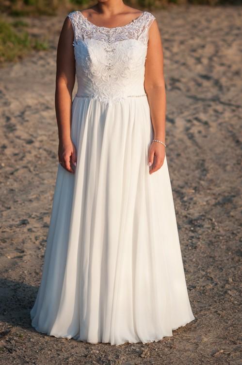 62a329912d Znany Suknie - Zwiewna suknia ślubna 42 44   172 cm + 5 cm obcas -