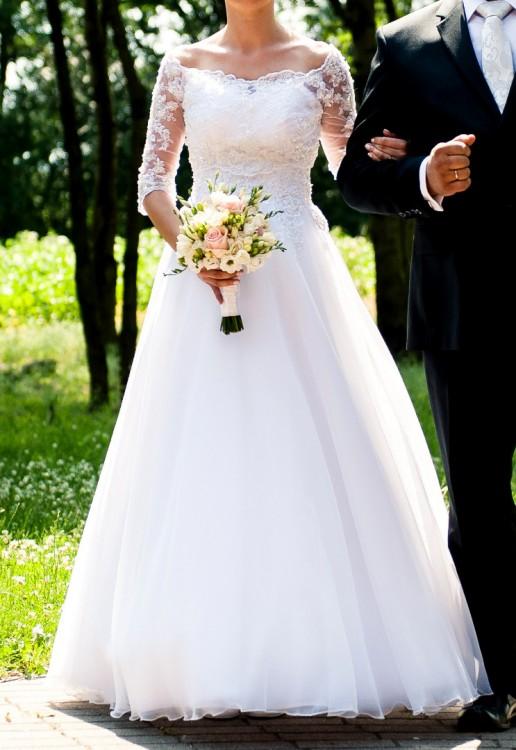 Suknie Suknia ślubna Duber Z Bolerkiem Rękaw 34 Rozmiar 36 2