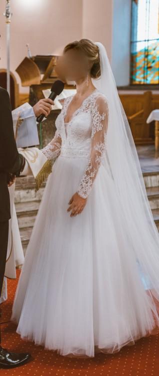 Suknie Suknia ślubna 2016 Luxury Długi Rękaw Koronka 36 38 1