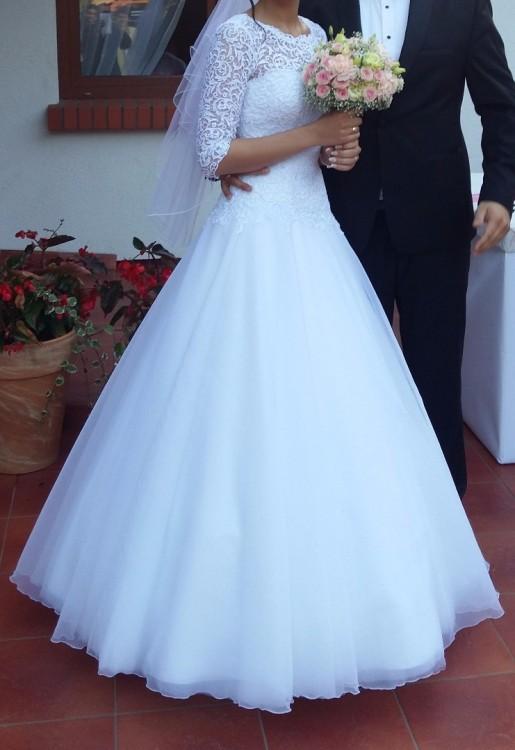 Suknie Biała Suknia ślubna Rozm 36 Rękaw 34 Welon I Halka 2