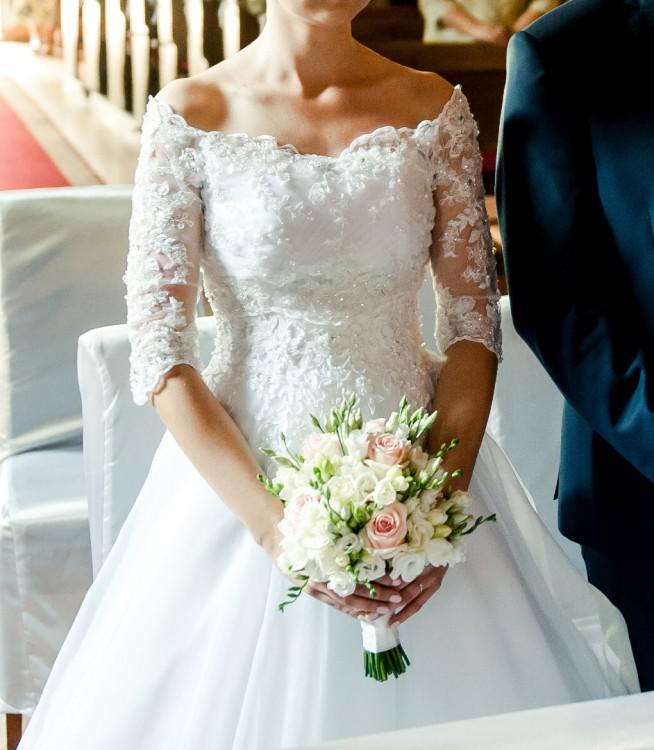 Suknie Suknia ślubna Duber Z Bolerkiem Rękaw 34 Rozmiar 36 1