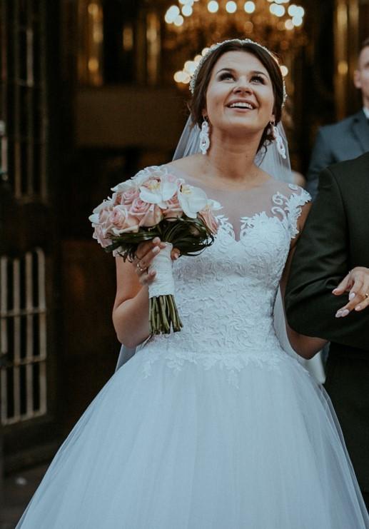 7302bf8516 Suknie - Przepiękna suknia ślubna projekt własny francuska koronka ...