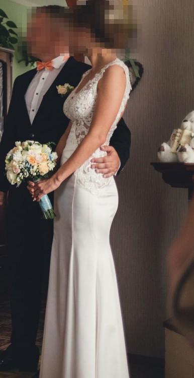 b5652bba793 Suknie - Suknia ślubna, koronka, dopasowana z wycięciem na plecach ...