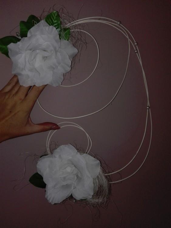 Kwiaty i serca ratanowe plus kokardy