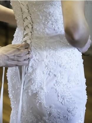 Suknia ślubna syrena z trenem + welon + bolerko