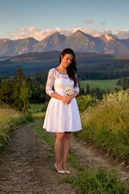 db0d86c3858d6e Suknie - Suknia ślubna, koronka, krótka, biała 38/40. - 700,00zł