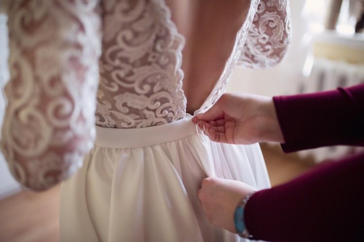 Suknie Suknia ślubna Z Rękawami I Odkrytymi Plecami Ivoryecru 1