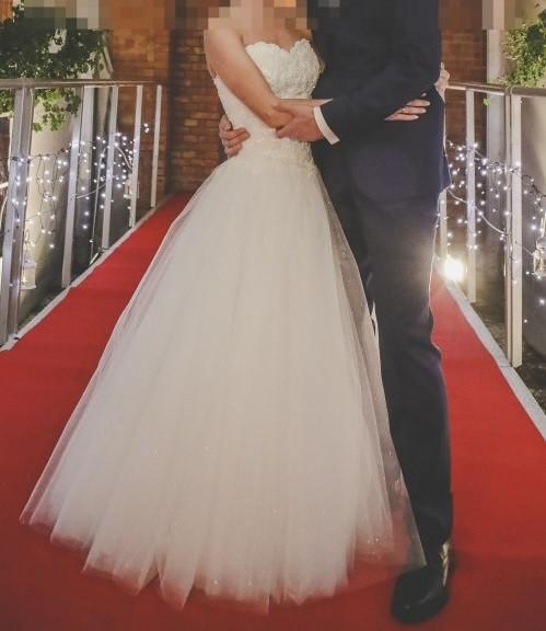 Suknie Suknia ślubna Agnes 16009 Piękny Gorset Perły Princessa 1