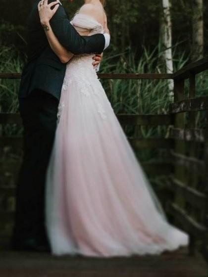 Suknie Orygnialna Pudrowo Różowa Suknia ślubna Perły 2 30000zł