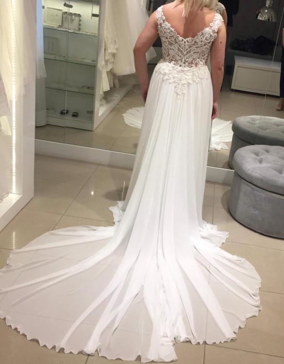 Bardzo dobra Suknie - Suknia ślubna muślinowy dół z koronkowym cielistym HH77
