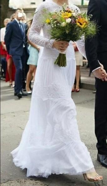Suknia ślubna bohi tiul koronka kropki flock odkryte plecy