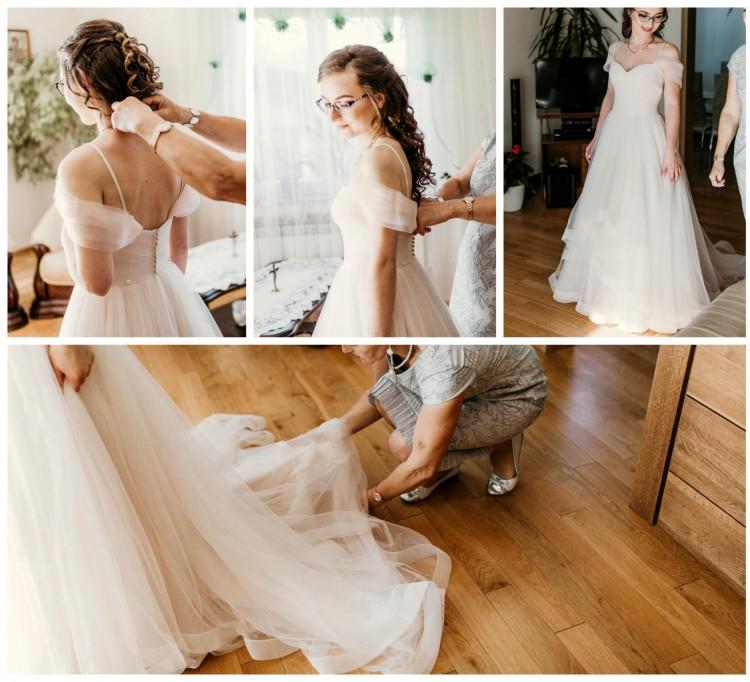 Piaskowa suknia Justin Alexander 6158