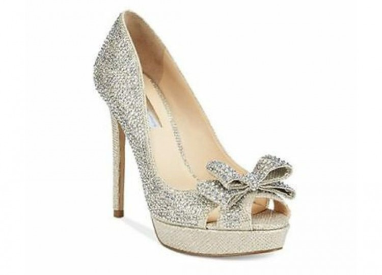 Buty ślubne j. Mischka srebrne kamyki