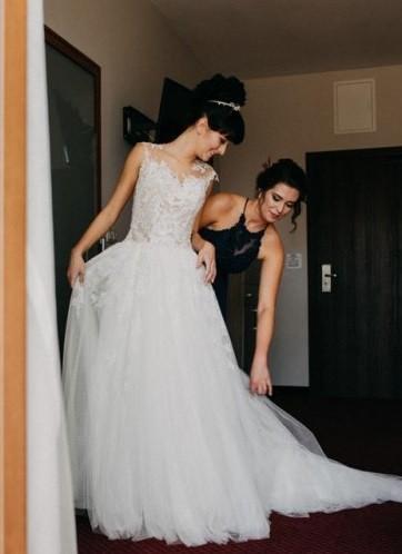 Suknia Nicole Spose + długi welon + bolerko