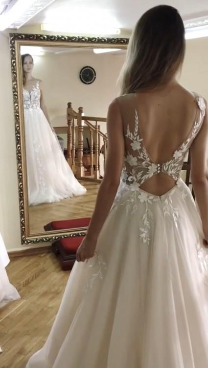 Suknia ślubna NOWA dekolt tren kolor ivory 34 36