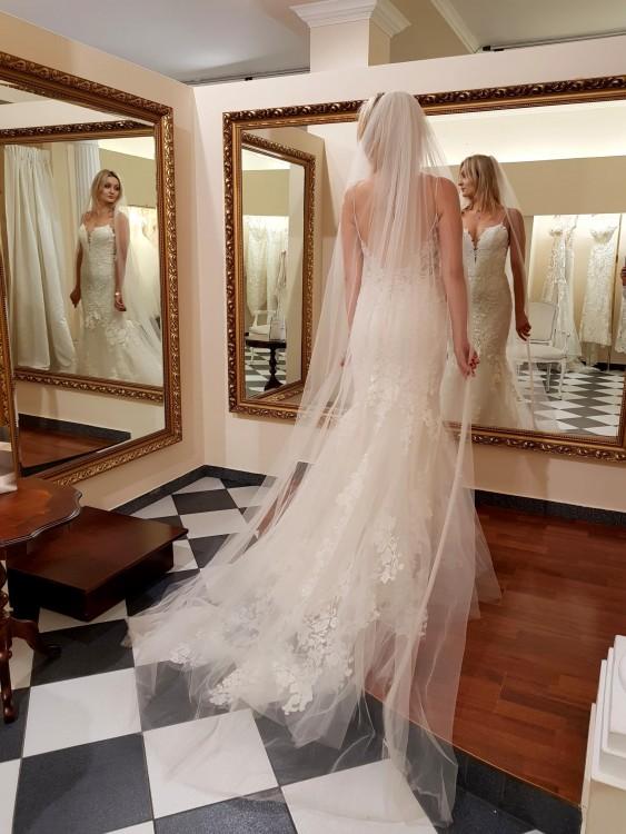Niepowtarzalna suknia ślubna Enzoani Lilac rybka syrena