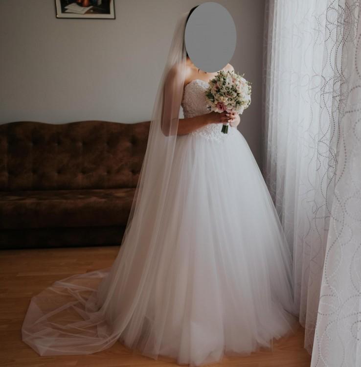 Suknia Ślubna AGNES + długi katedralny welon