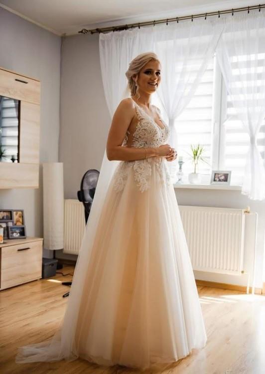 Suknia ślubna la perle iryna kotapska 38 różowa beżowa