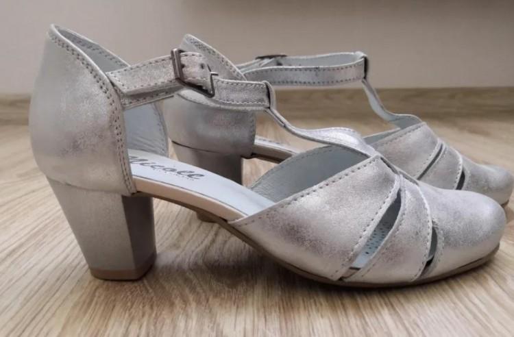 NOWE Buty ślubne srebrne NICOLL 2160 roz. 35 36 obcas:5,5 cm