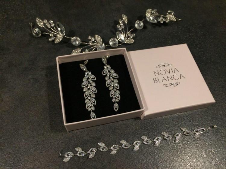 Biżuteria Novia Blanca Lisa -kolczyki + bransoletka + ozdoba