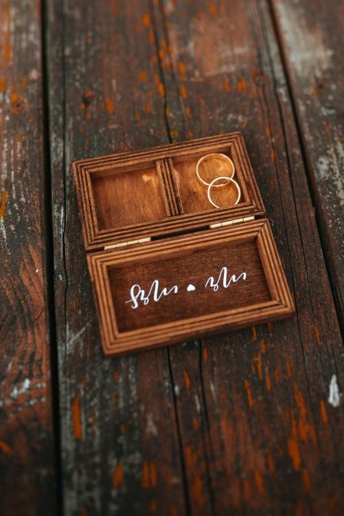 Piękne drewiane pudełko opakowanie na obrączki ślub wesele