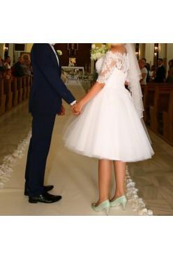 suknia ślubna krótka Ms Moda Beryl koronkowa