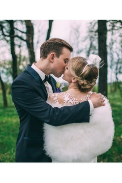 Etola ślubna z naturalnych piór