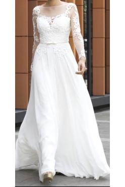 Suknia ślubna, długi rękaw, bez pleców