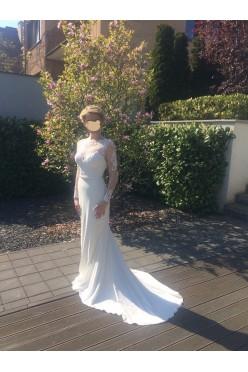 Suknia Ślubna Fadwa, odkryte plecy, długi rękaw