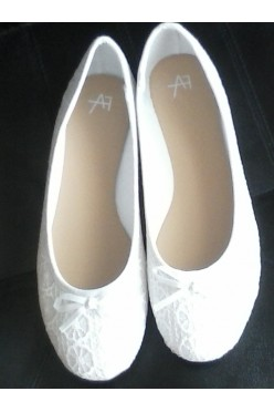 baleriny Anna Field rozmiar 41 (białe, z koronką)