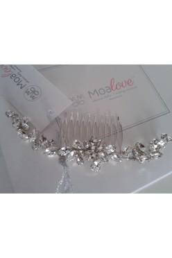 Grzebyk ślubny z kryształkami - MOA LOVE