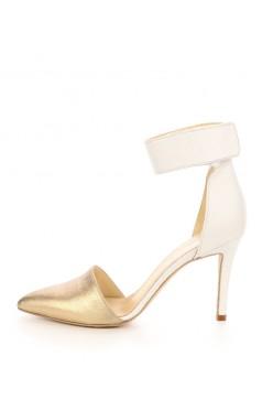 Czółenka-Sandały ślubne biało złote