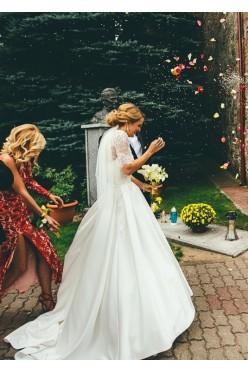 Elegancka suknia ślubna + koronkowe bolerko