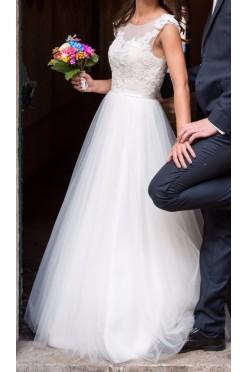 Suknia ecru Casilda z Afrodyty rozm 32-36, wzrost 162+/- 5cm