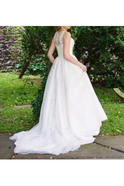 Suknia ślubna, kolor kremowy, rozmiar 36