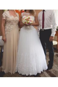 Piękna suknia ślubna księżniczka - koronka , kamienie , tiul