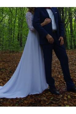 Suknia ślubna, gipiura, koronka, tren r. 34